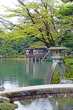 Kasumigaike Pond and Kotoji Toro Lantern inside Kenrokuen Garden. View of the Kasumigaike Pond, Uchihachi Teahouse and the Kotoji Toro Lantern inside Kenrokuen royalty free stock image
