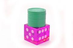 Kasyna kostka do gry z układami scalonymi Zdjęcie Stock