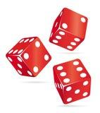 kasyno dices ikony czerwień trzy Obrazy Royalty Free