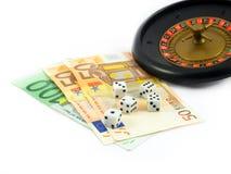 kasyno gry pieniędzy euro kostek Fotografia Stock