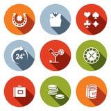 Kasyno i szczęście ikony set ilustracja wektor