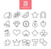Kasyno kreskowe ikony ustawiać Wektorowi automat do gier symbole Zdjęcia Royalty Free