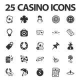 Kasyno, uprawia hazard 25 czarnych prostych ikon ustawiających dla sieci Zdjęcie Royalty Free