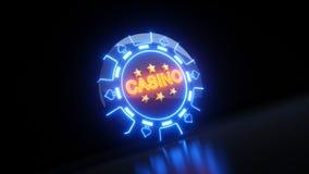 Kasyno Uprawia hazard układy scalonych w rydla symbolu pojęciu Z Neonowymi światłami - 3D ilustracja royalty ilustracja
