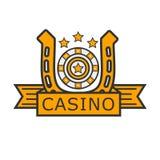 Kasynowa grzebaka hazardzisty ruleta i złoty podkowa wektoru szablon ilustracji