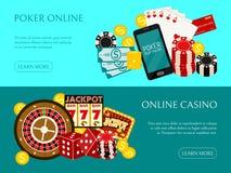 Kasynowa online sztandaru wektoru ilustracja Zawiera rulet?, kasynowi uk?ady scaleni, karty do gry, wygrany pieni?dze Worek pieni royalty ilustracja