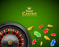 Kasynowa ruleta z układami scalonymi, czerwonych kostka do gry realistyczny uprawia hazard plakatowy sztandar Kasynowa Vegas pomy royalty ilustracja