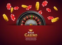 Kasynowa ruleta z układami scalonymi i moneta realistycznym uprawia hazard plakatowym sztandarem Kasynowy Vegas pomyślności rulet ilustracji