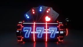 Kasynowe automata do gier i as karty do gry Z Jarzyć się światła Odizolowywających Na Czarnym tle - 3D ilustracja ilustracja wektor