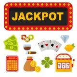 Kasynowe ikony ustawiać z ruletową hazardzisty jokeru automat do gier partii pokeru wektoru ilustracją royalty ilustracja