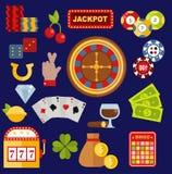 Kasynowego hazardzisty ikon grzebaka gemowi wektorowi symbole i kasynowy blackjack gręplują hazardzisty pieniądze wygrane ikony z ilustracja wektor