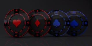 Kasynowego układu scalonego ziaren pojęcia węgla wielo- materiał błękitny i czerwony kolor odizolowywający na czarnym tle  royalty ilustracja