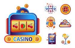 Kasynowi grzebaka loga szablony karta do gry, uprawiający hazard kostka do gry, układy scalonych lub najwyższej wygrany ruletę ilustracji