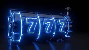 Kasynowy automat do gier Uprawia hazard pojęcie Z Neonowymi błękitów światłami Odizolowywającymi Na Czarnym tle - 3D ilustracja royalty ilustracja