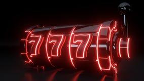 Kasynowy automat do gier Uprawia hazard pojęcie Z Neonowymi czerwonymi światłami Odizolowywającymi Na Czarnym tle - 3D ilustracja ilustracja wektor