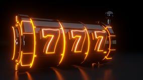 Kasynowy automat do gier Uprawia hazard pojęcie Z Neonowymi Pomarańczowymi światłami Odizolowywającymi Na Czarnym tle - 3D ilustr ilustracji