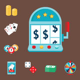 Kasynowy gemowy grzebaka hazardzisty symboli/lów blackjack grępluje pieniądze jokeru wektoru wygraną ruletową ilustrację Zdjęcie Royalty Free
