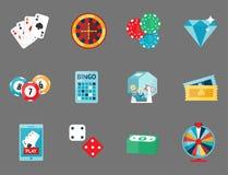 Kasynowy gemowy grzebaka hazardzisty symboli/lów blackjack grępluje pieniądze jokeru wektoru wygraną ruletową ilustrację ilustracji