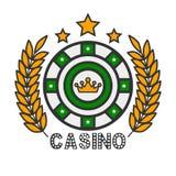 Kasynowy grzebak uprawia hazard ruletowego i złotego królewskiego korona wektoru szablon ilustracja wektor