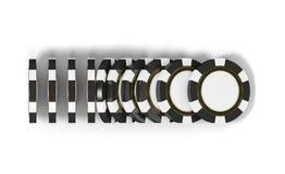 Kasynowy grzebaka tło Spada układu scalonego pojęcie, odizolowywający na bielu Kasyno szczerbi się domino skutek Gemowy 3D render Obraz Stock