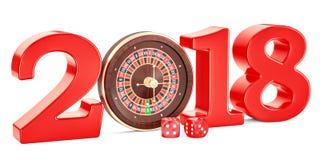 Kasynowy i uprawiający hazard przemysłu 2018 pojęcie, 3D rendering Fotografia Royalty Free