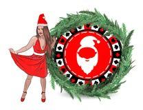kasynowy nowego roku zwycięstwo claus kobieta Santa ilustracja wektor