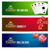 Kasynowy sztandar uprawia hazard set Grzebak ruleta ilustracji
