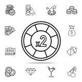 kasynowy układu scalonego wzrost w dwa ikonie Szczegółowy konturu set kasynowe element ikony Premia graficzny projekt Jeden kolek ilustracja wektor