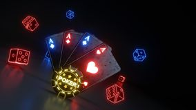 Kasynowy Uprawia hazard grzebak Grępluje pojęcie Z Jarzyć się Neonowych światła Odizolowywających Na Czarnym tle i Dices - 3D ilu ilustracji
