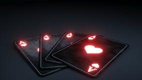 Kasynowy Uprawia hazard grzebak Grępluje pojęcie Z Rozjarzony Czerwony Neonowy Odosobnionym Na Czarnym tle - 3D ilustracja royalty ilustracja