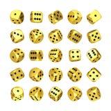 Kasynowy uprawia hazard pojęcie Set Złoci Gemowi kostka do gry sześciany w Differetn pozycji świadczenia 3 d obrazy stock