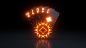 Kasynowy Uprawia hazard pojęcie Królewski sekwens w Karowych grzebak kartach Z Neonowymi światłami Odizolowywającymi Na Czarnym t ilustracji