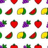 Kasynowych owoc kreskowego stylu prosty bezszwowy wzór Wektorowy tło Zdjęcie Stock