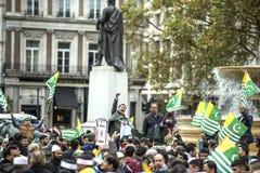 Kaszmir demonstraci Trafalgar kwadrat Londyn Obraz Royalty Free