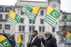 Kaszmir demonstraci Trafalgar kwadrat Londyn Zdjęcia Stock