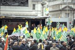Kaszmir demonstraci Trafalgar kwadrat Londyn Fotografia Royalty Free