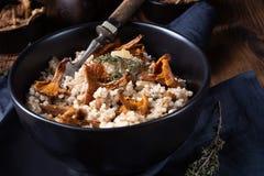 Kaszotto- połysku risotto od jęczmiennych groats z pieczarkami zdjęcie royalty free