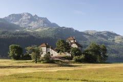 Kasztel bzdury da Sass, Silvaplana wioska, Szwajcaria Zdjęcie Stock
