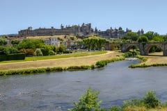 Kasztel Carcassonne i Pont Vieux most Francja Fotografia Royalty Free