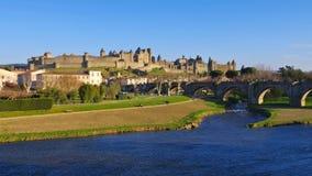 Kasztel Carcassonne Pont Vieux, Francja Obrazy Royalty Free