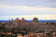 Kasztel Carcassonne w południe Francja Zdjęcia Royalty Free