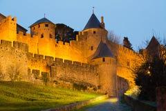 Kasztel Carcassonne w wieczór Obraz Royalty Free