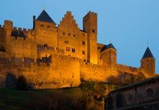 Kasztel Carcassonne w zmierzchu Fotografia Royalty Free