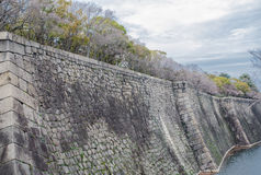 Kasztel ściana Osaka miasto i fosa Fotografia Royalty Free