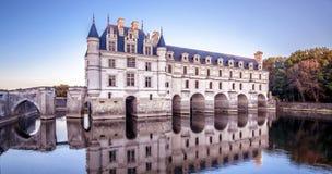 Kasztel De Chenonceau przy zmierzchem lub górska chata, Francja obraz stock