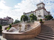 Kasztel, fontanna i schodki w dziejowym centrum miasta BIELSKO-BIALA w POLSKA, Fotografia Stock