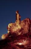 Kasztel grimaud przy nocą, France Fotografia Stock