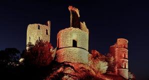 Kasztel grimaud przy nocą, France Fotografia Royalty Free