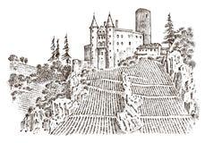 Kasztel na wzgórzu Antyczny krajobraz dla etykietki Grawerujący ręka rysujący nakreślenie w rocznika wiktoriański stylu tła torby Zdjęcia Royalty Free