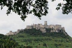 Kasztel ruiny Spissky roszują w Sistani na gorącym słonecznym dniu zdjęcia royalty free